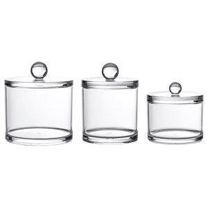 Clear Acrylic Serene Storage Jars, Set of 3