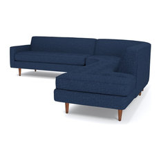 Apt2B   Monroe 3 Piece Sectional Sofa, Navy, Chaise On Left   Sectional