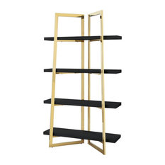 Posh Living Aluna 4-Shelf Stainless Steel Frame Bookcase In Black/Gold
