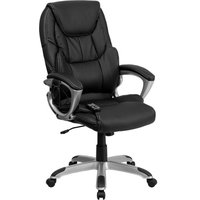 Massaging Black Leather Executive Swivel Chair With Silver Base and Arms