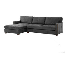 Incroyable Zin HOme   Collins Vintage Black Leather Left Arm Facing Sectional Sofa  With Chaise   Sectional