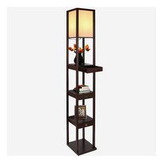 Brightech Maxwell Drawer Shelf Floor Lamp, Havana Brown