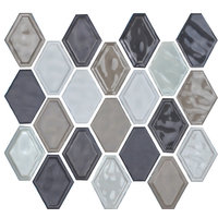 "12""x12"" Glazed Ceramic Diamond Mosaic Tile, Taupe Blend"