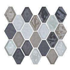 "12""x12"" Glazed Ceramic Diamond Mosaic Tile, Taupe Blend"