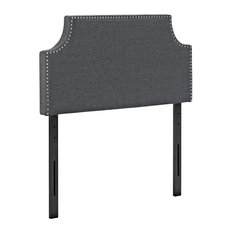 Laura Twin Upholstered Fabric Headboard, Gray