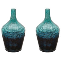 Ombre Glass Bottle, Set of 2, Green Ombre