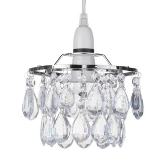 Chrome Ceiling Light Shade With Decorative Glass Droplets