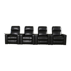 Abbyson Living - Murphy USB Outlet and Power Button Recliner With Table, Black, Set of 4 - Theater Seating