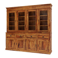 """Cariboo Contemporary 84"""" Tall Rustic Solid Wood Large Buffet Hutch"""