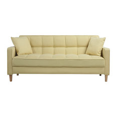 Divano Roma Furniture   Modern Linen Fabric Tufted Small Space Living Room  Sofa, Yellow