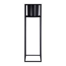 "Cubic Floor Planter with Frame, 31.5"", Black"