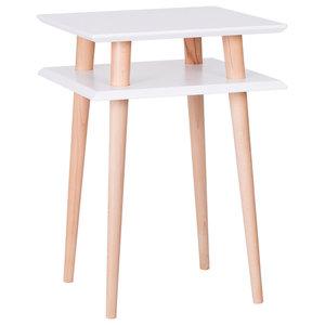 UFO Square Scandinavian Side Table, White