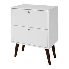 HomeRoots Furniture 2-Drawer Nightstand With Splayed Wooden Legs, White