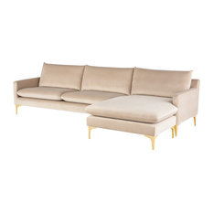 Anders Reversible Sectional Nude Velour Seat/Brushed Gold Legs