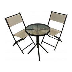 Metal Garden Bistro Set with Grey Textoline Folding Chairs