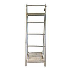White Bamboo Ladder Shelf