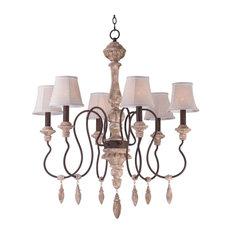 Maxim Lighting 39607SW/SHD396 Olde World 6 Light Chandelier, Senora Wood