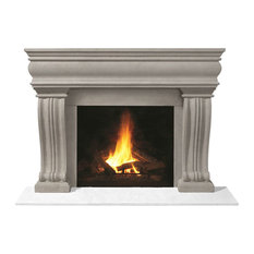 Fireplace Stone Mantel 1106.536 With Filler Panels, Limestone, No Hearth Pad