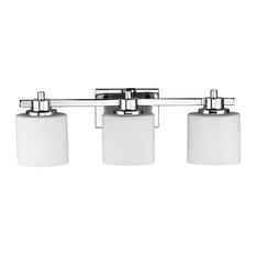 Mod Alabaster Gl 3 Bulb Bathroom Vanity Wall Light With Chrome Finish
