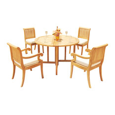 """5-Piece Outdoor Patio Teak Dining Set: 48"""" Buuterfly Round Table, 4 Giva Chairs"""