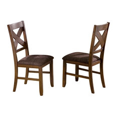 Whi Solid Wood And Fabric Seat Side Chair Set Of 2 Dining Chairs