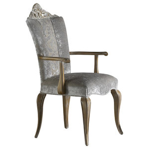 Silver Carving Dining Chair, With Armrests