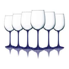 Cobalt Blue Cachet Wine Glasses w/ Beautiful Colored Stem Accent 19 oz Set of 6