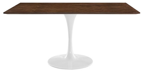 Tulip Table With Walnut Top Rectangle - Rectangular tulip table