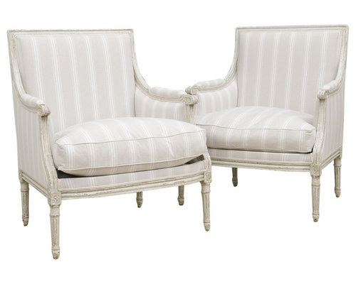 pair of antique french louis xvistyle painted bergeres living room chairs