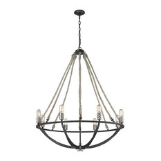 Natural Rope 8-Light Chandelier, Silvered Graphite/Polished Nickel Accents