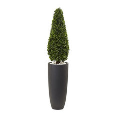 Boxwood Topiary with Cylindrical Planter in Green