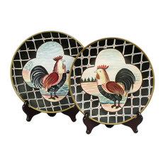 Pair of 10 Inch Diameter Ceramic Rooster Decorative Plates