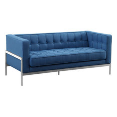 Armen Living Andre Tufted Loveseat In Blue And Brushed Silver