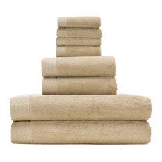 BedVoyage - Rayon Bamboo/Cotton Resort Towel Set, Champagne, 8-Piece Set - Bath Towels