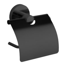 Matte Black Toilet Paper Holder With Cover