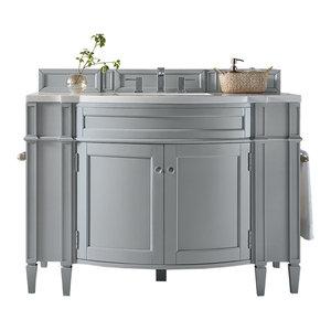 "Brittany 46"" Single Vanity Urban Gray 3CM Carrara Marble Top"