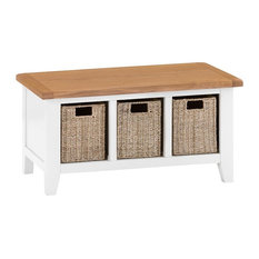 Rustic Hall Bench, White