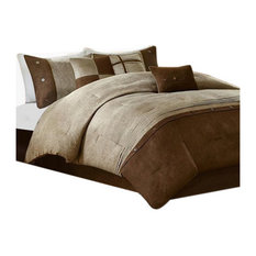 Microsuede Printed-Pieced 7-Piece Comforter Set, Brown, Queen