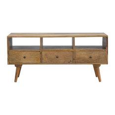 Artisan Furniture - 3-Drawer Media Unit, Oak Finish Mango Wood - TV Stands & Units