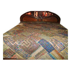 Mogul Interior - Indian Bedspread- Kutch Bedcover with Patch Work, Mirrors - Quilts And Quilt Sets