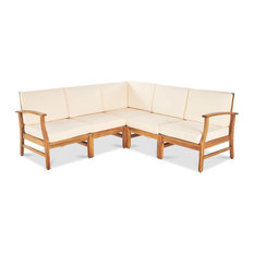 5-Piece Uniese Indoor Farmhouse Sectional Sofa Chat Set, Cream