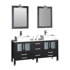 "Cambridge 63"" Solid Wood Double Bathroom Vanity Set, Brushed Nickel Faucet"