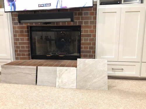 Refacing Red Brick Fireplace Which, How To Reface A Brick Fireplace With Tile