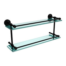 """Waverly Place 22"""" Double Glass Shelf With Gallery Rail"""