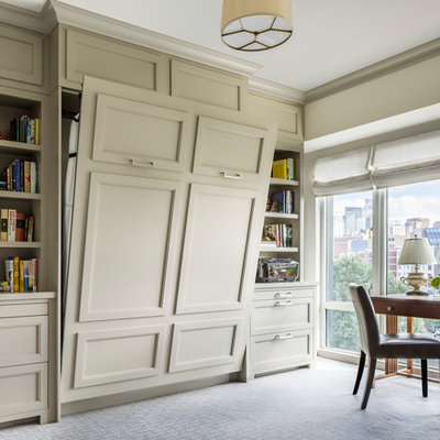 Example of a transitional home design design in Boston