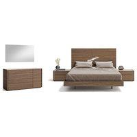 Faro Premium 5-Piece Bedroom Set, Walnut and Light Grey, King
