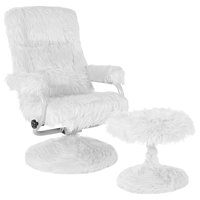 East Side Contemporary Multi-Position Recliner and Ottoman, White Fur