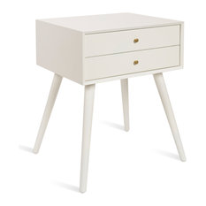 Finco Nightstand Side Table With 2 Drawers White 18x15x24