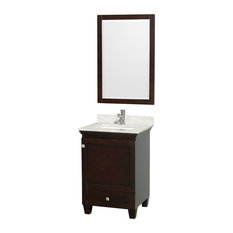 """Wyndham Collection 24"""" Acclaim Espresso Single Vanity With White Porcelain Sink"""