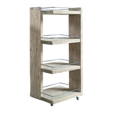 Mediterranean Wooden Shelving Unit With Wheels